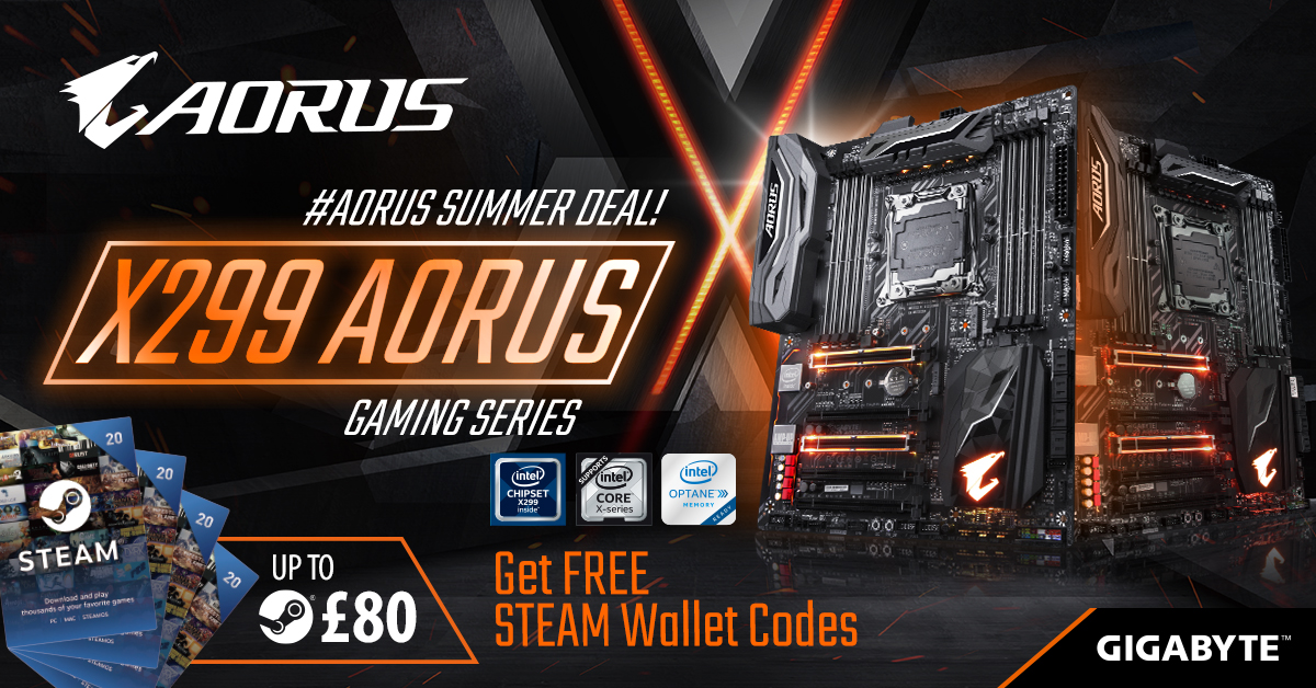 Buy the latest X299 AORUS motherboards and receive up to £80 Free